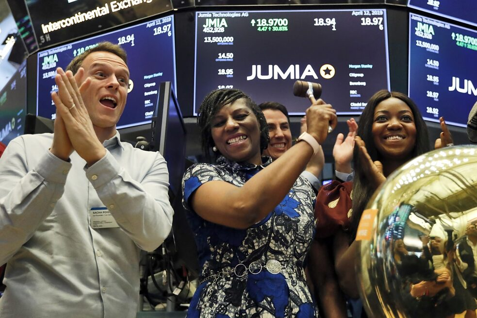 "Jumia is the first African technology start-up company to be listed on the New York Stock Exchange. The online trading platform was founded in Nigeria in 2012, has offices in 13 African countries and is already known as ""Amazon Africa"". Jumia co-CEO Sacha Poignonnec, left, applauds as Jumia Nigeria CEO Juliet Anammah, center, rings a ceremonial bell when the company's stock begins trading, April 12, 2019."