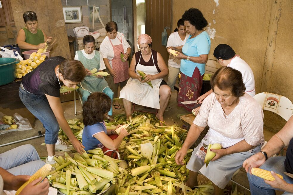 A group of far women peeling corn cobs, sao Francisco Xavier, Sao Paulo, Brazil, 2007