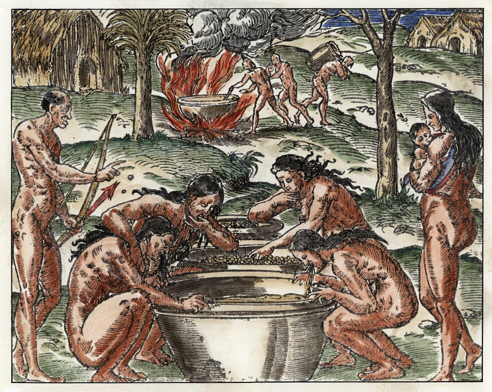 The indigenous Tupinambá people of Brazil were brewing cassava beer in the Middle Ages. Woodcut after a drawing by Andre Thevet (1504-1592). From: F. Andre Thevet, Les singularitez de la France Antarti- que, autrement nommee Amerique (...), Paris (Maurice de la Porte), 1558. later coloration