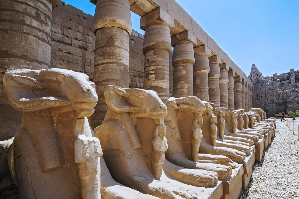 One of the first advanced civilizations in the world originated in Egypt. The avenue of ram head sphinxes at the 4,000 year old Karnak temple near Luxor.