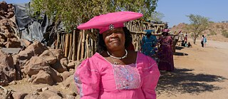 Woman from the Herero people with typical headgear, Damaraland, Namibia