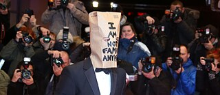 US actor and comedian Shia LaBeouf comes to the Berlinale with a paper bag over his head.