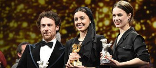Elio Germano, Paula Beer and Baran Rasoulof at the Berlinale 2020 award gala