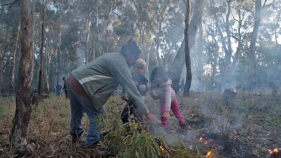 National Indigenous Fire Workshop in Dhungala 2019, hosted by the Yorta Yorta indigenous people, pictured Vanessa Cavanagh with her children Tyson & Emma