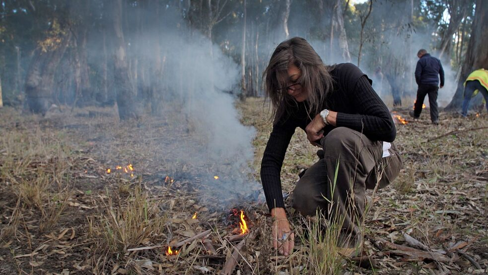 National Indigenous Fire Workshop in Dhungala 2019, hosted by the Yorta Yorta indigenous people, pictured Deborah Swan