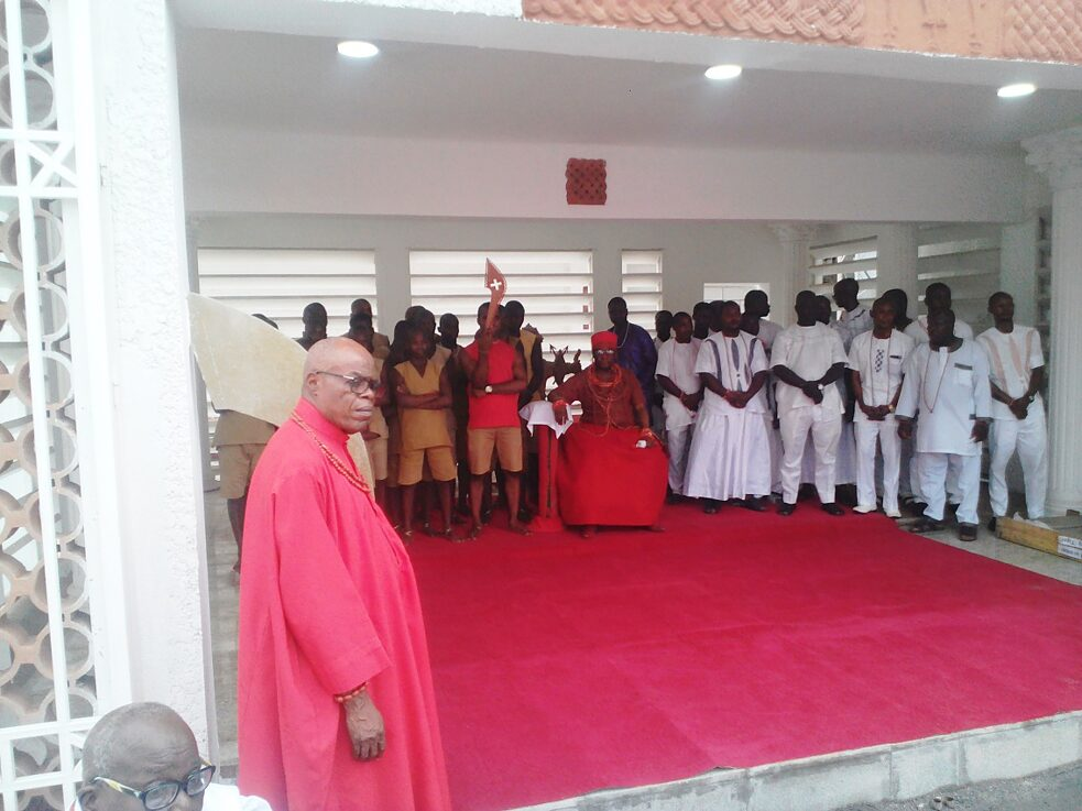 The Oba of Benin, Oba Ewuare II seated at Aro Ozolua in the modernized palace in 2019
