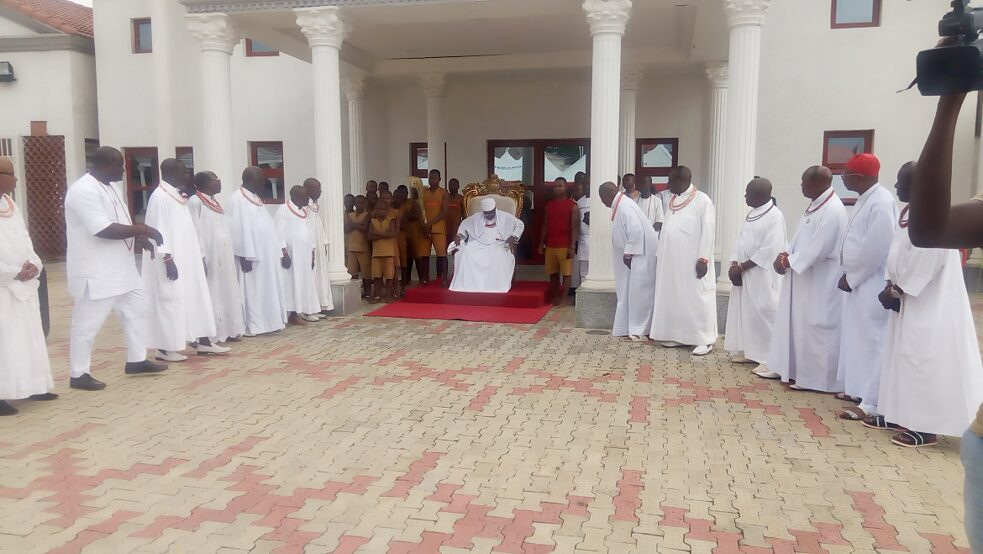 A cross section of Benin Chiefs paying homage to the Monarch at the palace 2016