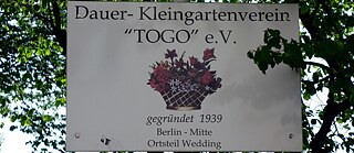 Traces of the colonial past in the German capital: Sign of the allotment garden association Togo in Togostraße in the African quarter in Berlin-Wedding, taken in 2019