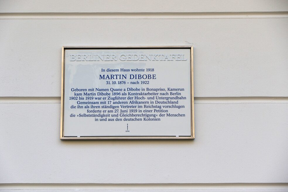 The memorial plaque for the African human rights activist Martin Dibobe (1876-1922) from Cameroon at his last home in Berlin, inaugurated in 2016. Martin Dibobe worked his way up in Germany from conductor to train driver. Nevertheless, he did not feel respected, and with a petition he defended himself against racism.