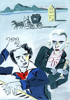 Beethoven takes music lessons with Haydn
