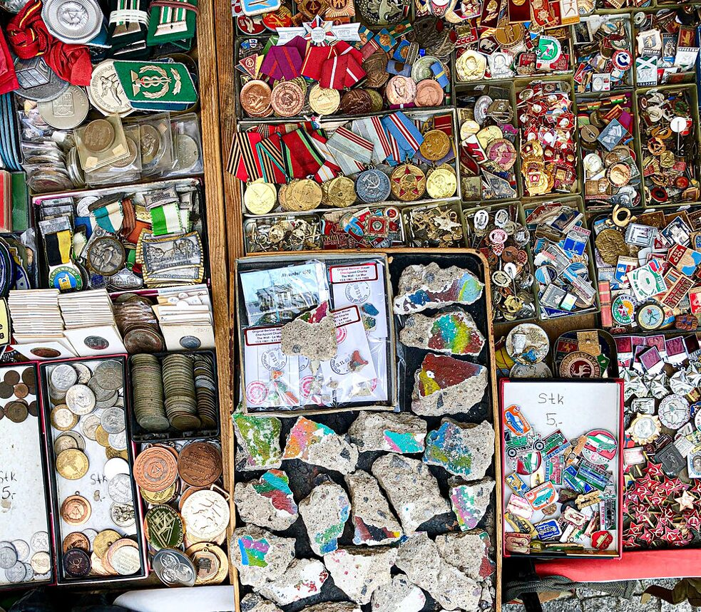 Photo of East German relics at a market