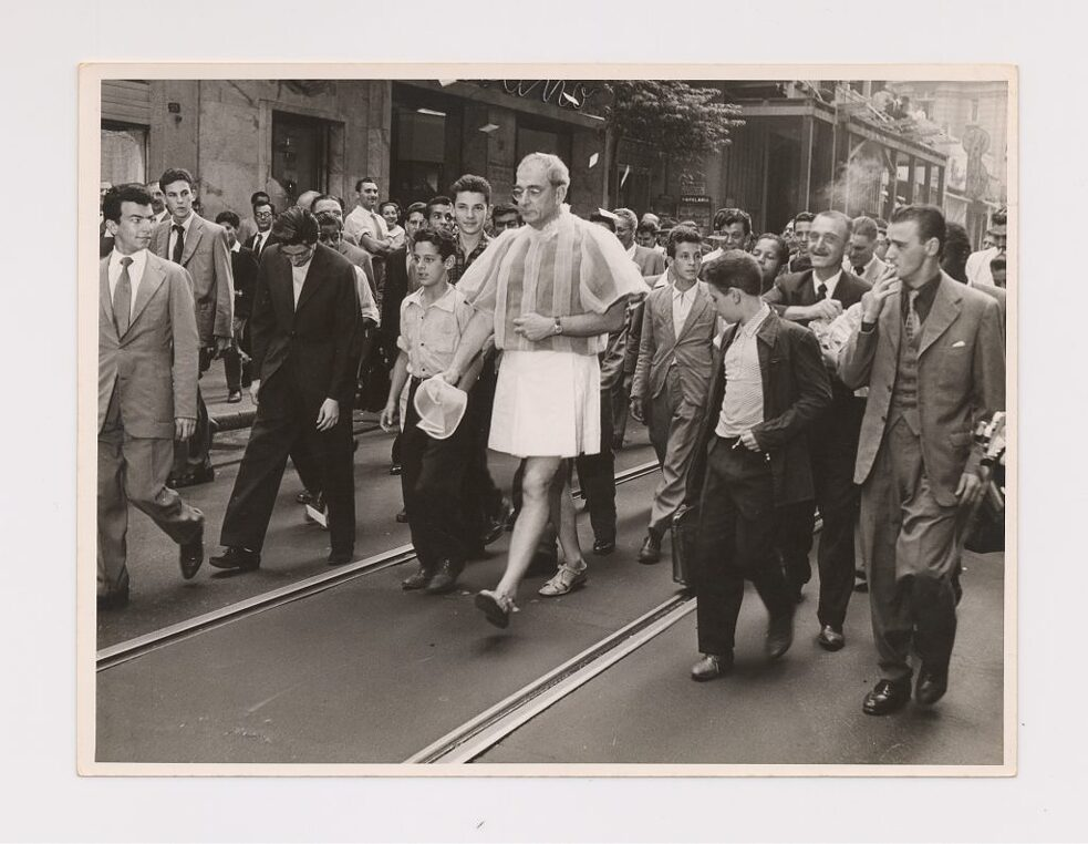 "Flávio de Carvalho wearing and displaying the New Look Suit on the streets of São Paulo: ""Experiência n. 3"", 1956."