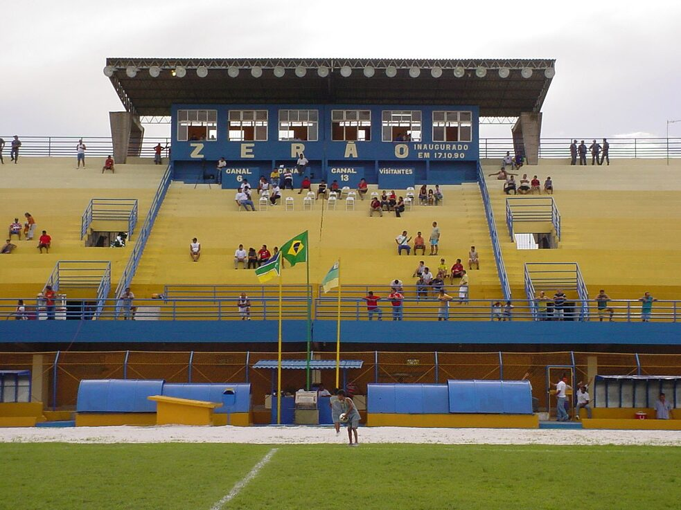 "Latitude: The undated photo shows the grandstand of the football stadium ""Zerao"" in Macapa, Brazil. The center line of the stadium runs on the equator, so one goal is in the northern hemisphere and the opposite one in the southern hemisphere."