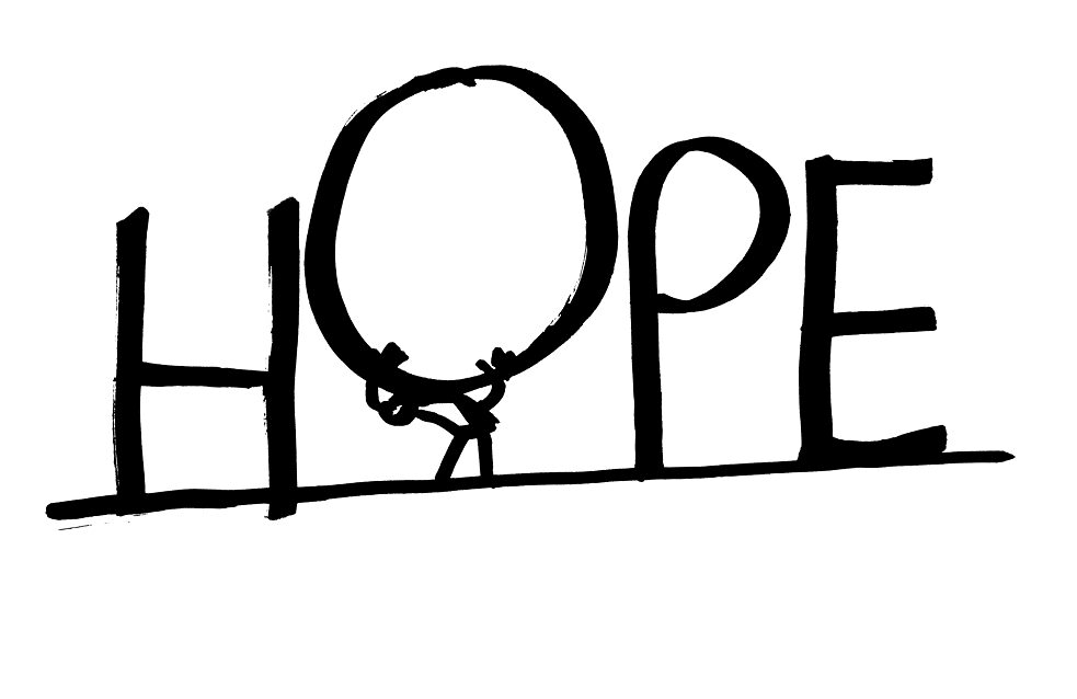 Writing of hope; black letters on white background