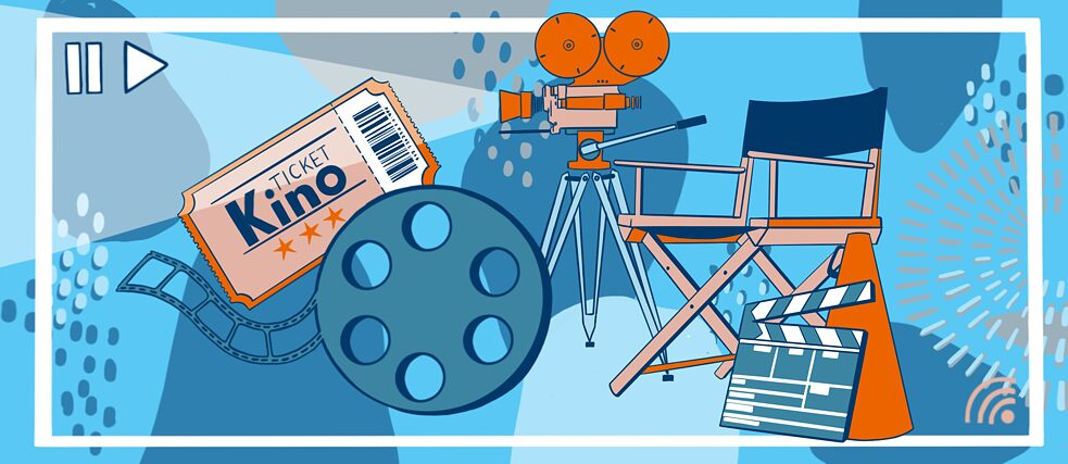 Film - Illustration of cinema ticket, film roll, camera
