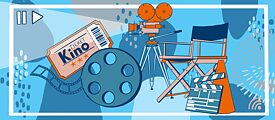 Film - Illustration von Kinoticket, Filmrolle, Kamera