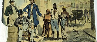 Colonial history: Sale of slaves in the streets of Havana, Cuba, in the 19th century. School wall painting (color print), 1950.