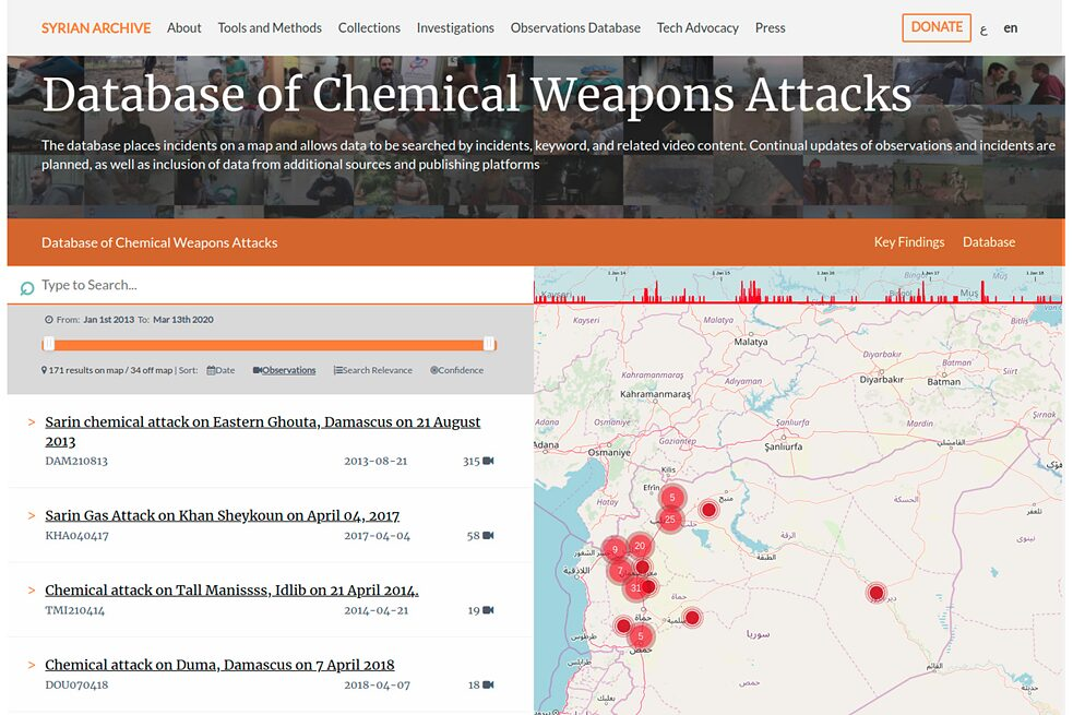 Database of Chemical Weapons Attacks