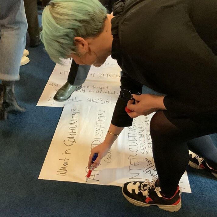Participants noting their thought on paper