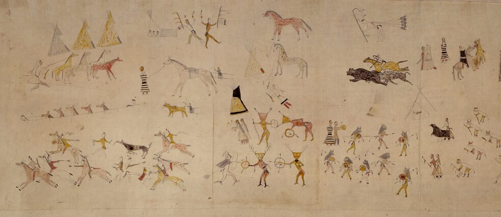 Restitution? From the North America collection of the Museum Fünf Kontinente in Munich: Cloth, so-called tepee liner, cotton, watercolours, painted with a warrior's exploits. Plains, North Dacota, Standing Rock Reservation. Around 1880. collection of Princess Therese of Bavaria.