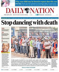 """Stop Dancing with Death"" - an image of a newspaper article from the Daily Nation"
