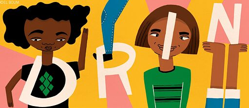 Illustration: Children of different skin colours with the project name DRIN
