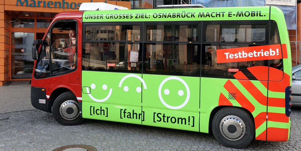 An electric bus in Osnabrück: Among other things, this city in the state of Lower Saxony was awarded the Sustainability Prize 2020 in the major-city category for its traffic concept.