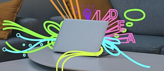 Illustration: Coloured letters and lines streaming out of a laptop.