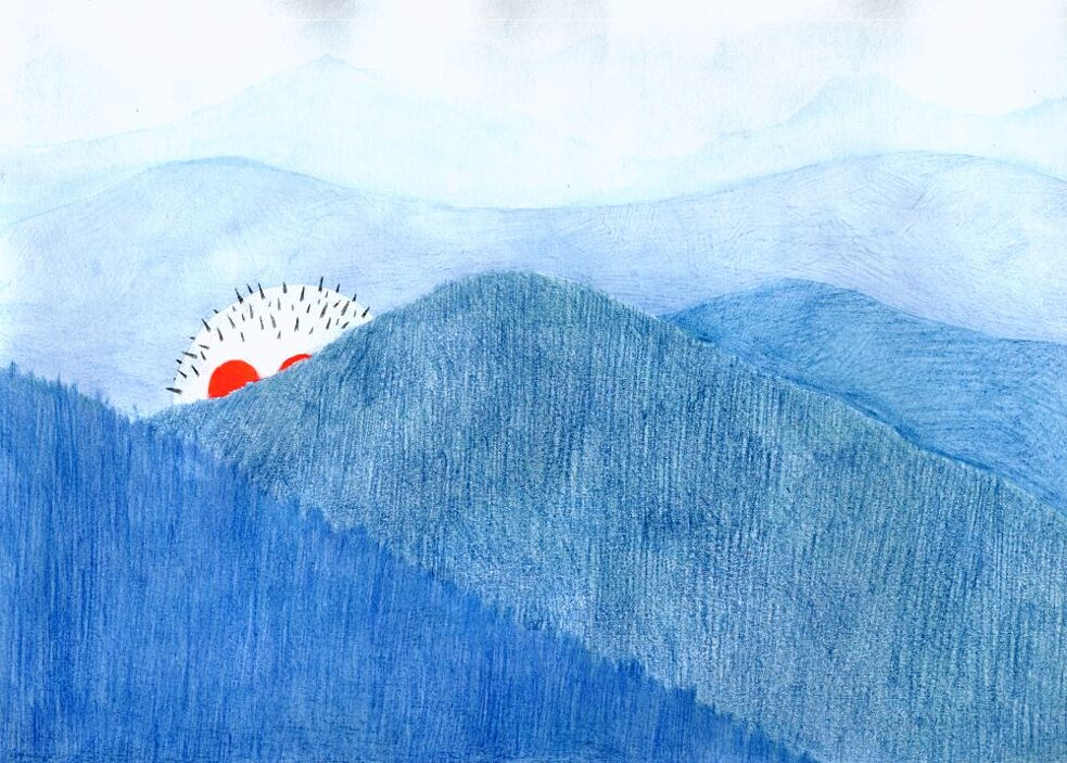 Blue Mountains, 2004, colored pencil, graphite, acrylic and spray paint on paper. 21 x 32 cm