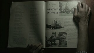 "Colonial history – This screenshot from the film ""A Memory in Three Acts"" shows a magazine."