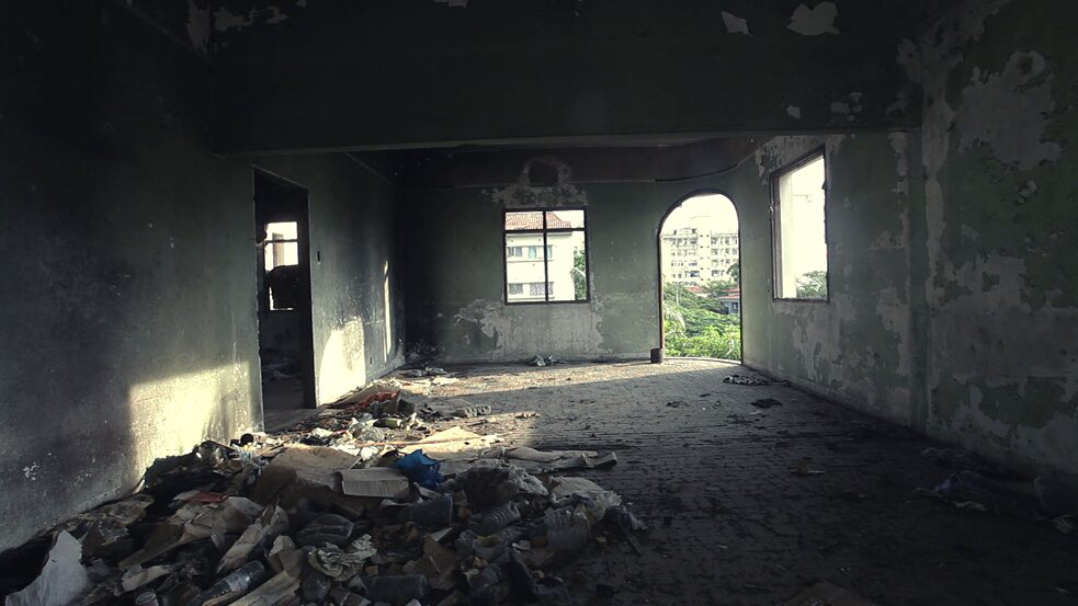 Colonial history – This screenshot captures the abandoned remains of the interior space of Vila Algarve in Maputo, Mozambique.