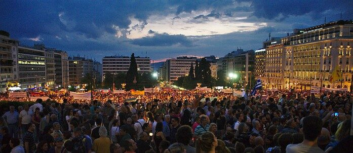 Anti-austerity protest in Athens, Greece, June 2015