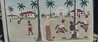 "Colonial Era: ""Beating in the Court of Mongomo"": The painting by Filiberto Obama Nsue, called ""Fili"", from 1975, shows guards beating up a Guinean"