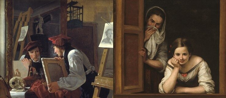 Links: A Young Artist (Ditlev Blunck) Examining a Sketch in a Mirror - von Wilhelm Bendz ; 1826 ; 98 x 85 cm. Rechts: Two Women at a Window - von Bartolomé Esteban Murillo ; 1655-1660 ; 125 x 104.5 cm