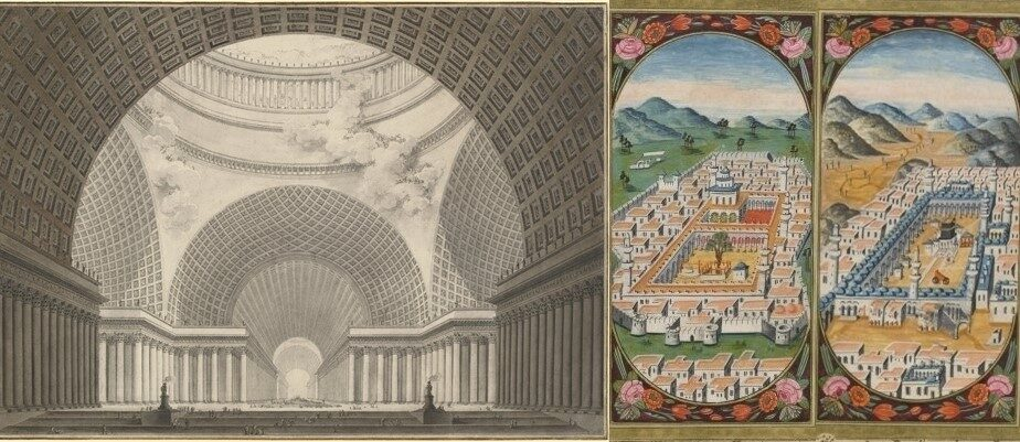 Links: Vue perspective de l'intérieur d'une église métropolitaine ; Etienne-Louis Boullée ; 1780 ; 59.4 x 83.9 cm ; National Gallery of Art.  Rechts: Dalâ'il al-khayrât ...: The Mosque at Mecca, 74v ; calligraphie : Mustafâ al-Kûtâhî ; auteur : Jazūlī, Muḥammad ibn Sulaymān ; 1792 ; 9.5 x 4.7 cm ; Manuscripts and Archives Division, The New York Public Library
