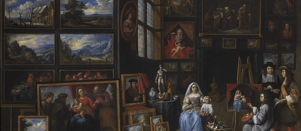 A Picture Gallery with an Artist Painting a Woman and a Girl, Allegory of the Art of Painting. Gillis van Tilborgh. 1660-1669. 97.5x137cm