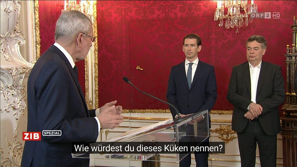 Screenshot: wrong subtitles at swearing-in ceremony of Austrian chancellor
