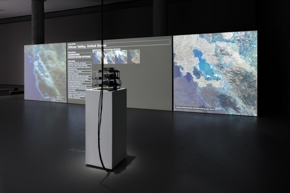 Tega Brain, Julian Oliver, Bengt Sjölén, Asunder, 2019. Asunder was commissioned by the MAK for the VIENNA BIENNALE 2019. Exhibition view from the The Eternal Network, transmediale 2020.