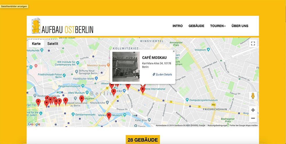 "Based on the photographs of Gisela Dutschmann, who captured the reconstruction of East Berlin with her camera, the team members of ""Aufbau Ost-Berlin"" have created digital city tours."