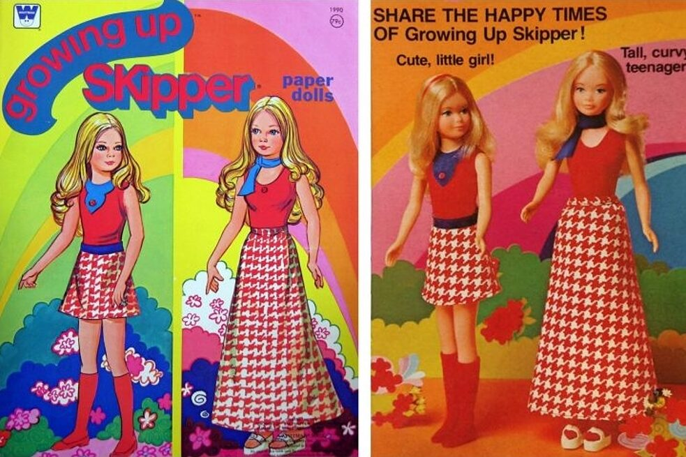 Growing up Skipper / 1975–1979 – Barbie's younger sister Skipper was created by Mattel in 1964. By the mid-70s, the company decided it was time for her to grow up a bit. When girls rotated Growing Up Skipper's left arm forward, she grew an inch and developed breasts. Rotate the same arm backward, and she went back to prepubescence. Creeeepy. Mattel was criticized for sexualizing a teenage girl, which – unlike Growing Up Skipper – isn't making mountains out of molehills. The doll was a big bust. Let's hope that Mattel learned its lesson: dolls simply shouldn't grow up.