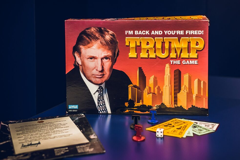 "Trump: The Game / 1989–1990; 2004 – Inspired by Donald Trump's real estate business, this game is about buying and selling real estate. It was described as a boring and complicated variation of the popular game Monopoly, though Trump himself said it was ""much more sophisticated than Monopoly."" Most people who bought the game probably did not bother reading the ten pages of instructions. The game was relaunched in 2004, following Trump's success with the television series ""The Apprentice."" It flopped, despite simplified game rules, and even more pictures of Trump. According to one review of the game, ""It is not a game you want to play again."""