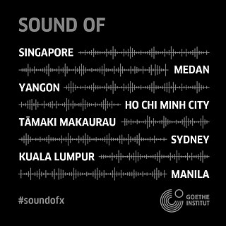 Sound of X, square with black background and city names and music design elements in white font
