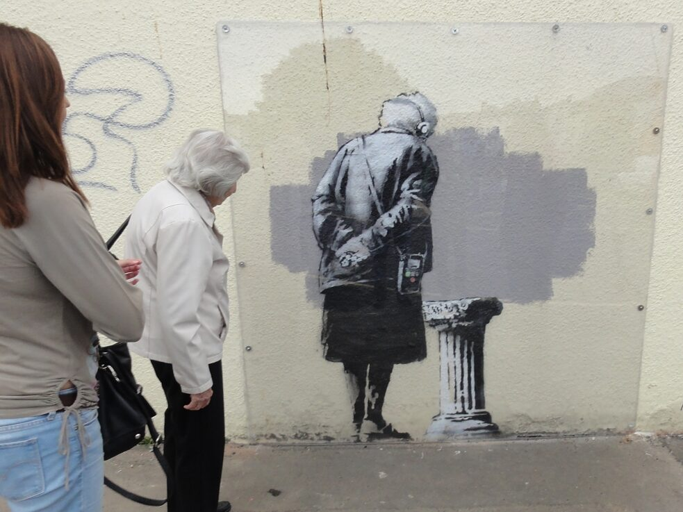 "The subconscious art of graffiti removal: Streetart 'Art Buff' by Banksy in Folkestone, Kent, 2014. The title of the piece ""ART BUFF"" is a sardonic wordplay. An ""Art Buff"" being an art enthusiast and ""buff"" is slang for the painting over of graffiti."