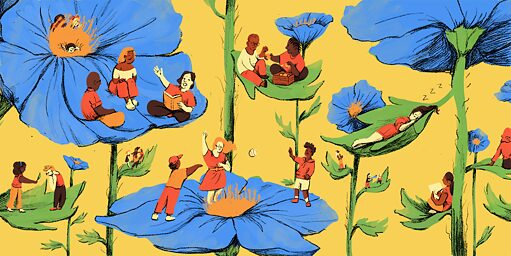 in a whimsical illustration against a yellow background, people on flowers engage in communal activities like reading and talking