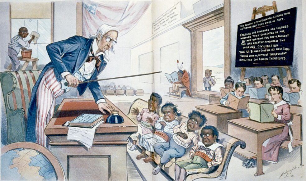 "»<a href=""https://commons.wikimedia.org/wiki/File:School_Begins_1-25-1899.JPG"" target=""_blank"">School Begins</a>« by Louis Dalrymple. The image first appeared in Puck magazine on January 25, 1899."