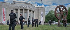 Police presence in front of Berlin's Volksbühne theatre during a demonstration by opponents of Germany's corona policy.