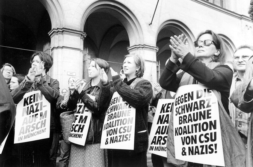 "Racism – Participants in a demonstration against the opponents of the exhibition ""Vernichtungskrieg, Verbrechen der Wehrmacht 1941 bis 1944"" (War of Extermination, Crimes of the Nazi Army from 1941 to 1944) in Munich in 1997."