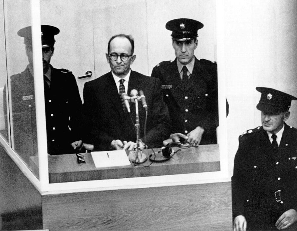 "Racism – The former ""SS Obersturmbannführer"" Adolf Eichmann, who during the Nazi period was head of the department responsible for the systematic persecution and murder of Jews, on trial in Jerusalem in 1961. Eichmann was sentenced to death and executed in May 1962."