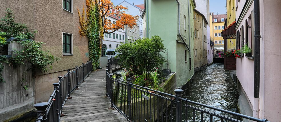 Augsburg's many canals provide renewable energy and the multiple small bridges add to the charm of the historic city centre.