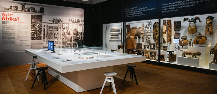 "Restitution – An exhibition room of the permanent exhibition ""Where is Africa"" in the Linden-Museum. At a press conference in February 2020 the Linden-Museum Stuttgart presented perspectives and ideas for an ethnological museum of the future."